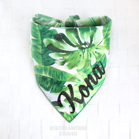 Tropical Green Leaf Bandana - Tie on Classic Pet Bandana Scarf
