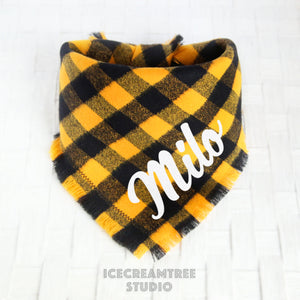 Black Yellow Buffalo Plaid Bandana - Tie on Classic Flannel Pet Bandana Scarf