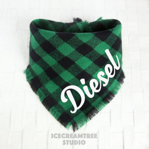 Black Green Buffalo Plaid Bandana - Tie on Classic Flannel Pet Bandana Scarf