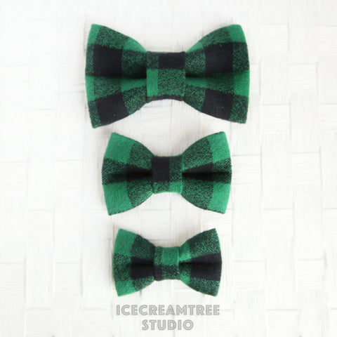 Flannel Black Green Buffalo Plaid Bow - Collar Slide on Bow