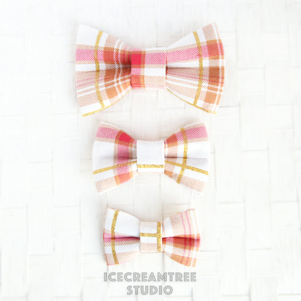 Red with Gold Plaid Bow - Collar Slide on Bow