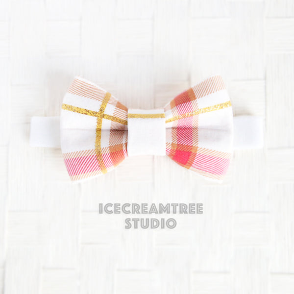 Red with Gold Plaid Bow Tie - Pet Bow Tie