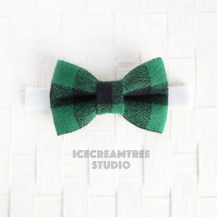 Flannel Black Green Buffalo Plaid Bow Tie - Pet Bow Tie