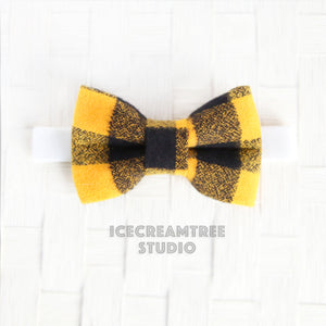 Flannel Black Yellow Buffalo Plaid Bow Tie - Pet Bow Tie