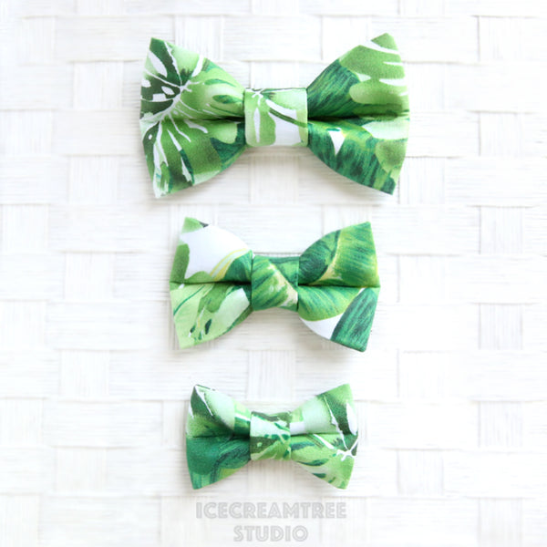 Tropical Green Leaf Bow - Collar Slide on Bow