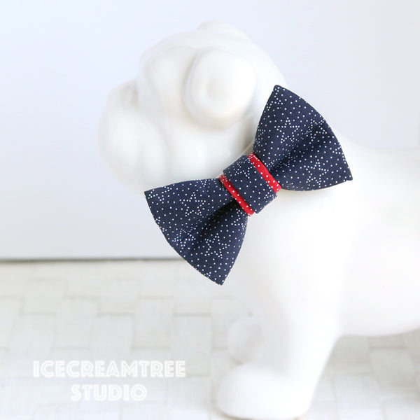Navy Star Bow - Collar Slide on Bow