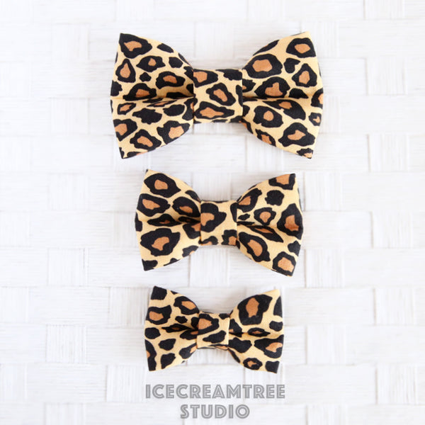Beige Leopard Bow - Collar Slide on Bow