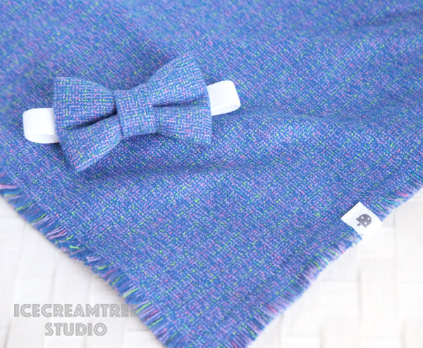 Flannel Blue Purple Tweed Bow - Collar Slide on Bow