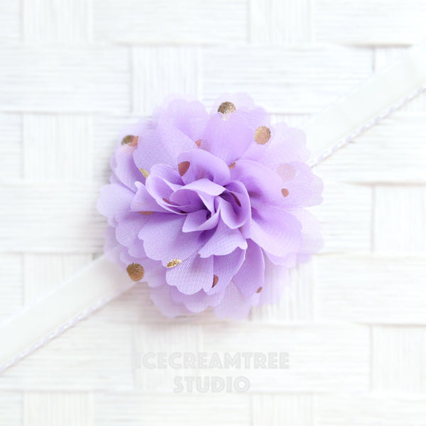 Little Lavender Gold Dot Bloom Collar Slide On - Small Flower Collar Accessory