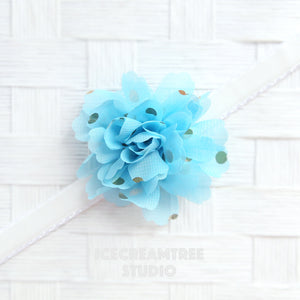 Little Light Blue Gold Dot Bloom Collar Slide On - Small Flower Collar Accessory