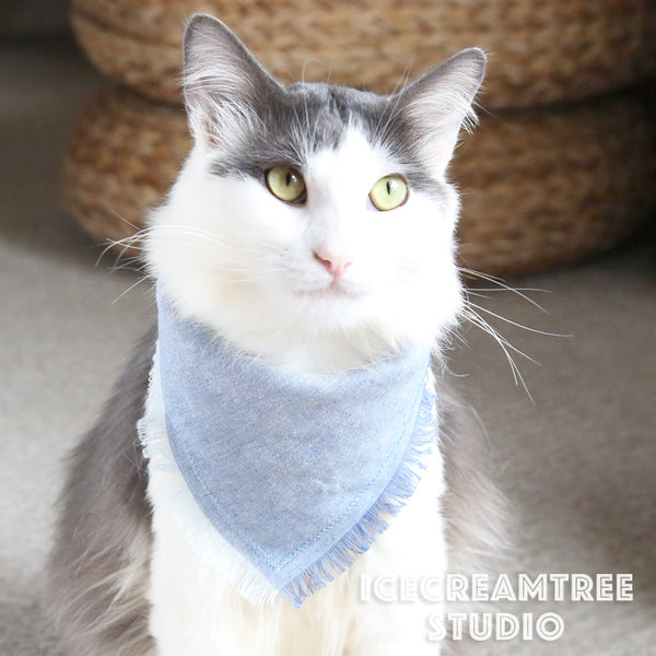 Light Blue Linen Bandana - Tie on Classic Linen Pet Bandana Scarf