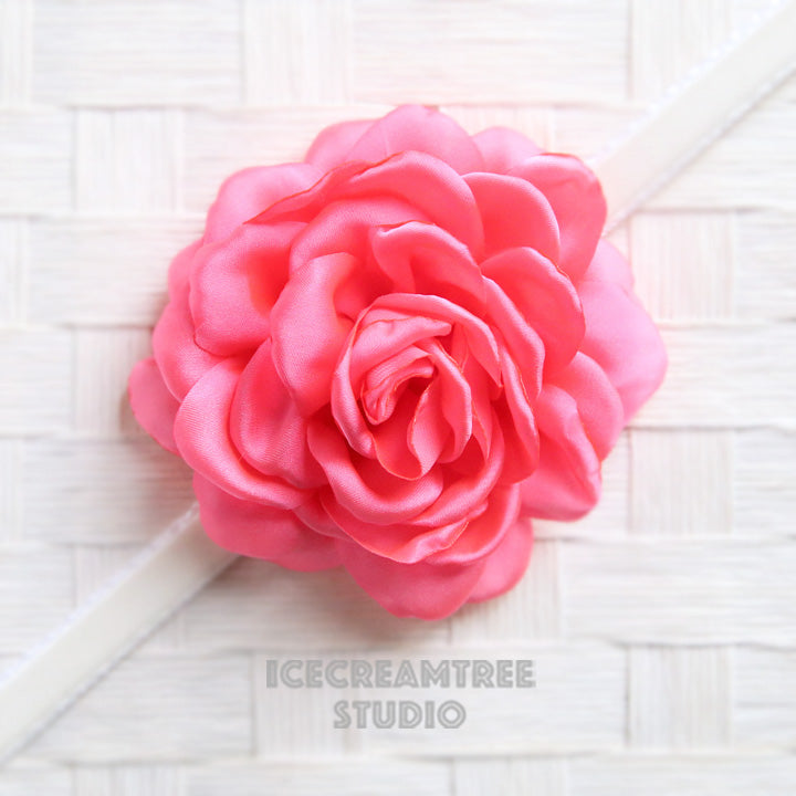 Satin Fluorescent Pink Bloom Collar Slide On - Large Flower Collar Accessory
