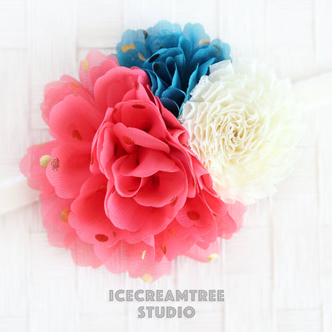 Coral Tornado Blue Cream Bouquet Flower Collar Slide On - Bouquet Flowers Collar Accessory