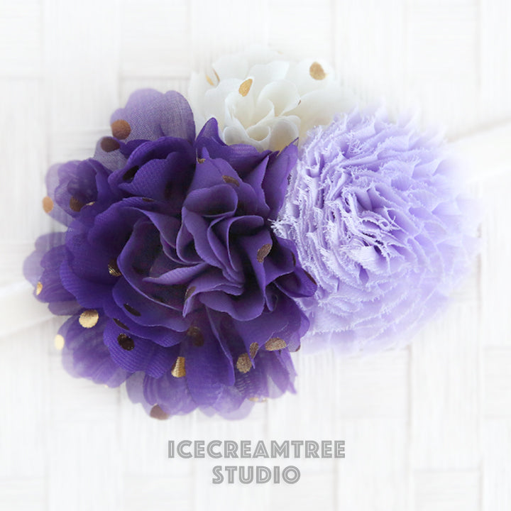 Purple Cream Lavender Bouquet Flower Collar Slide On - Bouquet Flowers Collar Accessory