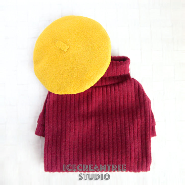 Maroon Turtleneck and Beret Retro Look Outfit - Pet Clothing