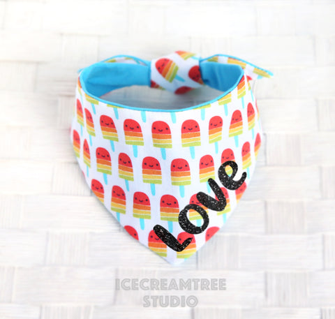 Rainbow Popsicle Bandana - Tie on Modern Pet Bandana Scarf