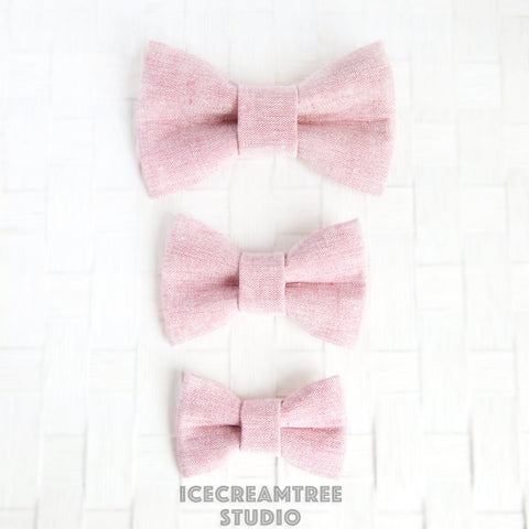 Light Pink Summer Linen Bow - Collar Slide on Bow