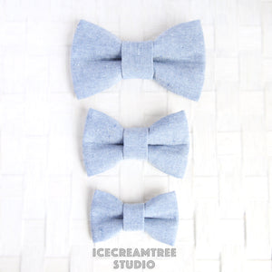 Light Blue Linen Bow - Collar Slide on Bow