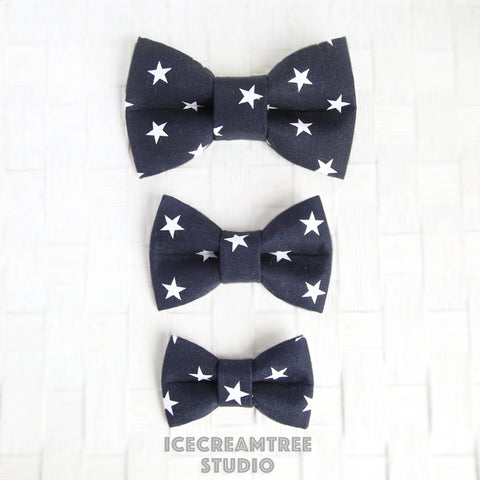 Navy Star Patriotic Bow - Collar Slide on Bow