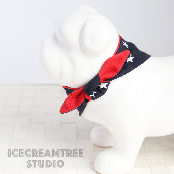 Navy Star Patriotic Bandana - Tie on Modern Pet Bandana Scarf