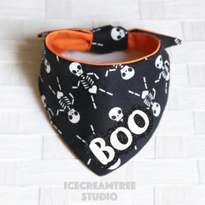 Black Dancing Skeleton - Tie on Modern Pet Bandana Scarf