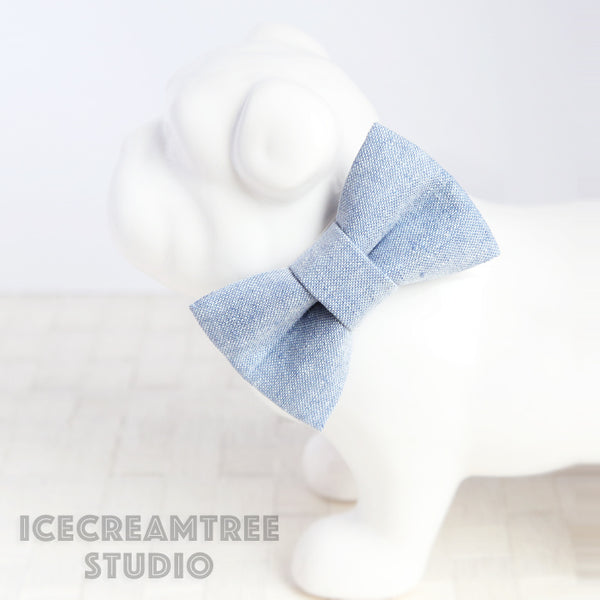 Light Blue Summer Linen Bow - Collar Slide on Bow