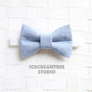 Light Blue Summer Linen Bow Tie - Pet Bow Tie