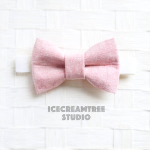 Light Pink Summer Linen Bow Tie - Pet Bow Tie