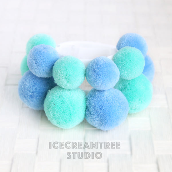 Blue Mint PomPom Necklace - Elastic Pet Collar
