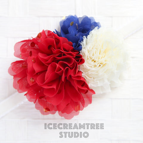 Red White Blue Bouquet Flower Collar Slide On - Bouquet Flowers Collar Accessory