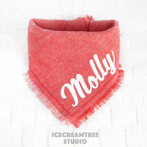 Red Linen Bandana - Tie on Classic Linen Pet Bandana Scarf