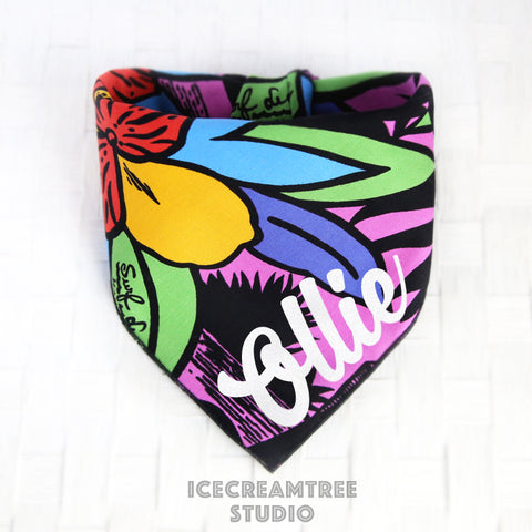 Pop Aloha Bandana - Tie on Classic Pet Bandana Scarf