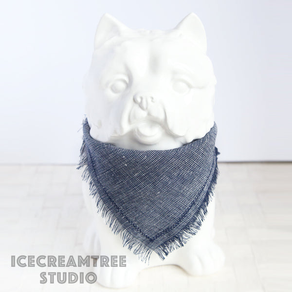 Navy Blue Summer Bandana - Tie on Classic Linen Pet Bandana Scarf