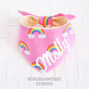 Pink Rainbow Bandana - Tie on Modern Pet Bandana Scarf