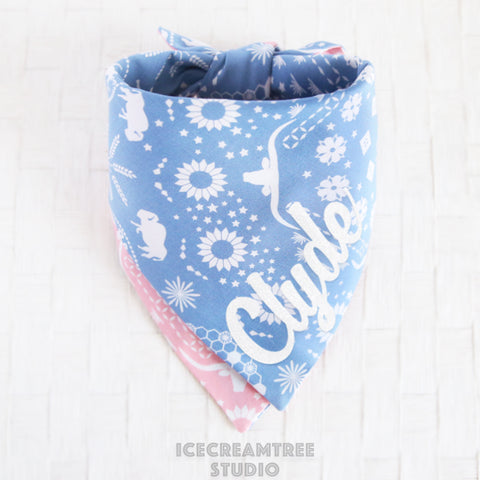 Reversible Western Bandana - Tie on Classic Pet Bandana Scarf