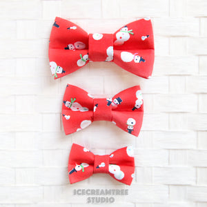Red Snowman Bow - Collar Slide on Bow