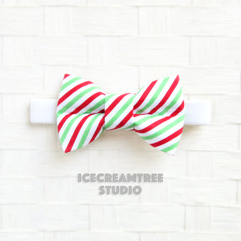 Red Green Christmas Stripe Bow Tie - Pet Bow Tie