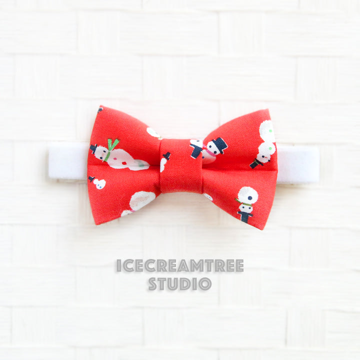Red Snowman Bow Tie - Pet Bow Tie
