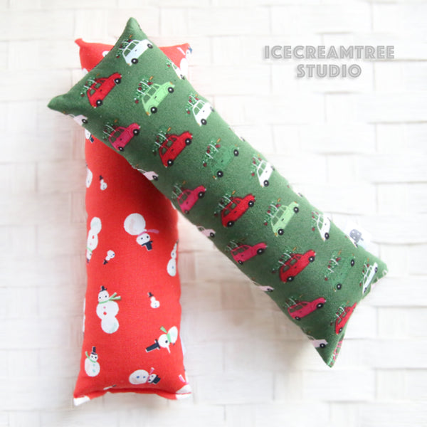 Green Christmas Tree on Car / Red Snowman Catnip Kicker - Large Catnip Toy