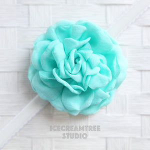 Large Aqua Mint Bloom Collar Slide On - Large Flower Collar Accessory