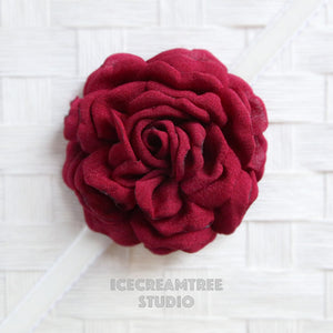 Large Maroon Red Bloom Collar Slide On - Large Flower Collar Accessory