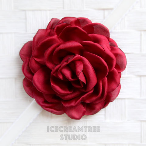 Satin Maroon Red Bloom Collar Slide On - Large Flower Collar Accessory