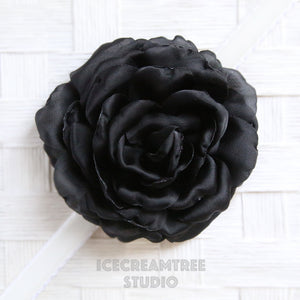 Satin Black Bloom Collar Slide On - Large Flower Collar Accessory