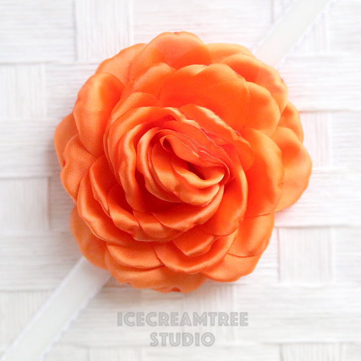 Satin Orange Bloom Collar Slide On - Large Flower Collar Accessory