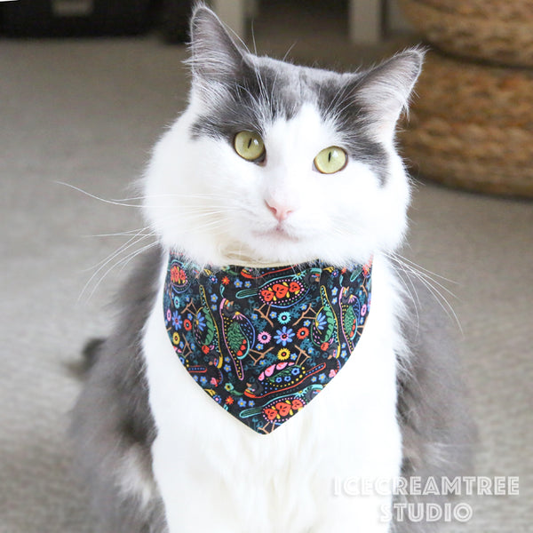Black Bird Garden Bandana - Tie on Modern Pet Bandana Scarf