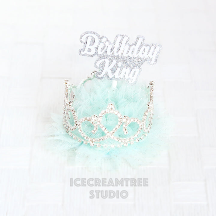 Aqua Blue Birthday Tiara Crown Hat - Pet Birthday Hat