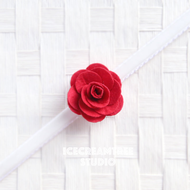 Round Felt Red Flower Collar Slide On - Small Flower Collar Accessory
