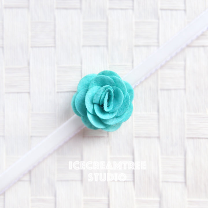 Round Felt Turquoise Flower Collar Slide On - Small Flower Collar Accessory