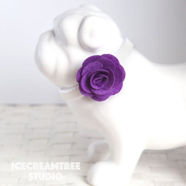 Round Felt Purple Flower Collar Slide On - Small Flower Collar Accessory