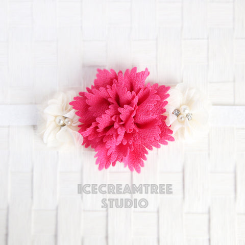 Hot Pink Cream Flower Necklace - Elastic Pet Collar